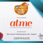 Media Innovator Awards Certificate 2020: ATMC – Most Creative IT Marketing Agency 2020 (Singapore)